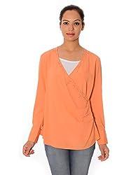 Oviya Women's Orange Solid Tops