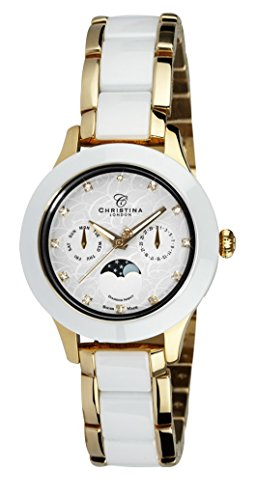 Christina Design London Diamond Night Moonphase women's quartz Watch with white Dial analogue Display and gold Stainless steel gold plated Bracelet C307GW