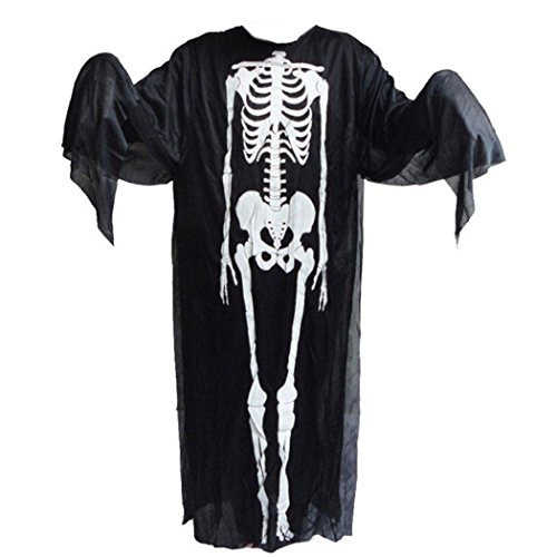 FINEJO Disappearing Skin Bone Skeleton Suit Adult Teen Size Halloween Costume Morph