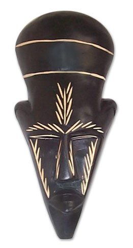 NOVICA Decorative Ghanaian Sese Wood Mask, Brown, 'Frighten Death Away'