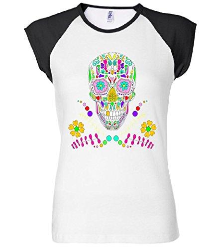 Day of The Dead Skull Flower Glasses Women's Raglan T-Shirt Red 2XL LRTTP9879468
