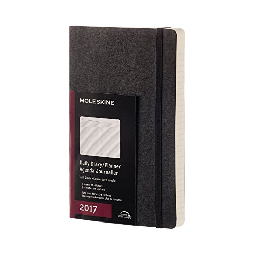 Moleskine 2017 Daily Planner, 12M, Large, Black, Soft Cover (5 x 8.25)