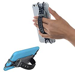 TFY Smartphone Security Hand Strap Holder with Belt- Stand - iPhone 6 / 6S (Plus) - iPhone 7 / 7 Plus - iPhone SE - Samsung Galaxy S4 / S5 - Galaxy Note 2 / 3 / 4 - Nexus 5 / 6 and More (Grey)