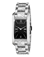 Burberry Women's BU1098 Check Engraved Black Dial Stainless Steel Watch