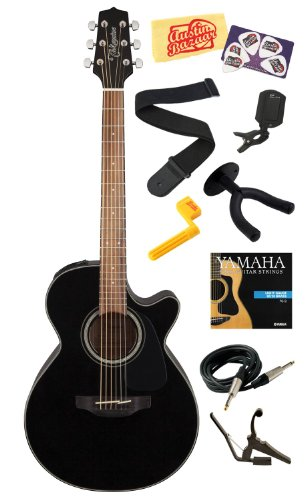 Takamine Gf30Ce Solid Spruce Top Fxc Cutaway Acoustic-Electric Guitar With Rosewood Fretboard Bundle With Strings, Capo, Strap, Instrument Cable, Wall Hanger, Tuner, Stringwinder, Picks, And Polishing Cloth - Black