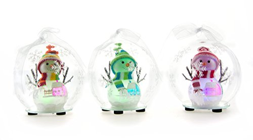 Youseexmas Set Of 3 Handblown Light Up Glass Snowman Ornament With Timer