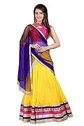 BanoRani Rani & Yellow Color Banarasi Silk & Net With Zari & Lace Work Unstitched Lehenga Choli