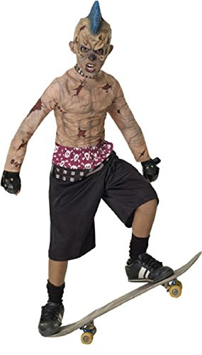Rubies Kids Zombie Skater Mohawk Punk Boys Halloween Costume M front-1082635