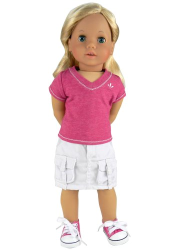 18 Inch Doll Clothes of Detailed Doll Shirt in Fuchsia and White Cargo Skirt Set, Fits 18 Inch American Girl Dolls, Fuchsia Shirt & Cargo Skirt Set