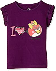 Angry Birds Girls T-Shirt (ABGTOP33_Purple_11 - 12 Years)