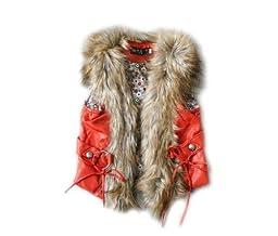 SOPO Faux Fur Vest Baby Boys Girls Outwear Waistcoat Winter Jacket 2-6Y Orange