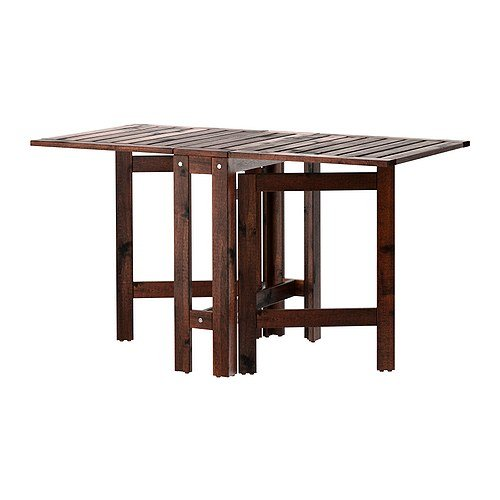 Ikea applaro drop leaf folding wood table brown seats 2 - Folding wooden table ikea ...