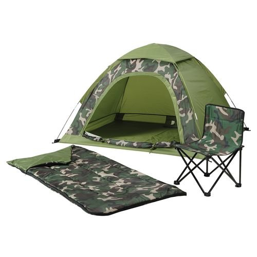 Kids 5 X 4 Camo Dome Tent Sleeping Bag And Folding