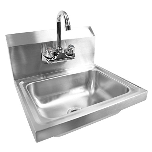 Gridmann Commercial NSF Stainless Steel Sink - Wall Mount Hand Washing Basin with Faucet