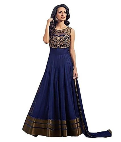 S.B CREATION Creation Women\'s Blue Anarkali Semi-stiched gown (SB10_Blue)