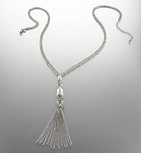 Faux Pearl Multi-Faceted Bead Tassel Necklace