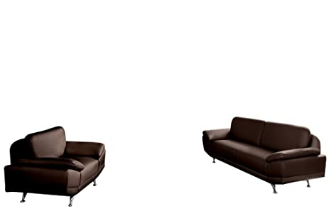 Relaxima Ottawa Canapé Fixe 3 Places + Fauteuil Bois Chocolat 202 x 82 x 82 cm