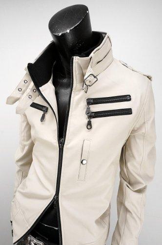 ライダースジャケット ミリタリージャケット フェイクレザージャケット ライダース ジャケット メンズ 916500A オフ白 LL