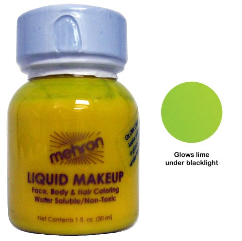 Mehron Liquid Face and Body Painting Makeup (1 ounce, Fluorescent (Black Light) Lime)