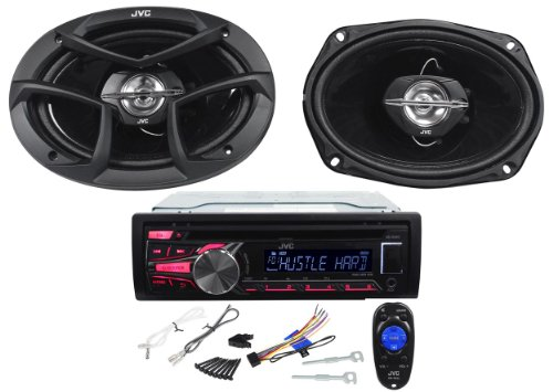 """Jvc Kd-Pkr4590 Package Single Din Cd/Am/Fm/Usb/Aux Car Stereo Receiver With A Pair Of 6"""" X 9"""" Jvc Car Speakers - Iphone/Ipod/Android Compatible"""