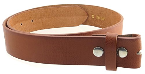 "Leather Belt Strap with Soft Distress 1.5"" Wide with Snaps (Tan-M)"