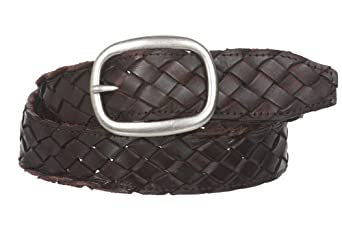 "Womens 1 1/2"" (38 mm) Snap On Oval Braided Woven Oil Tanned Leather Belt Size: L/XL - 40"" Color: Brown"