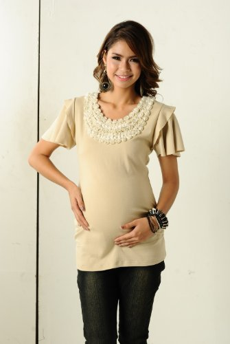 Women's KC&PP Ruffle Sleeve Top with Flower Applique (Maternity)
