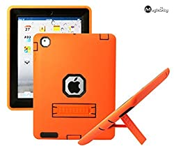 iPad 4 Case, MagicSky Heavy Duty Shock-proof/Impact Resistant Rugged Hybrid Dual Layer Defender with Kickstand for iPad with Retina Display (iPad 4th Generation), iPad 2 / iPad 3 - Black/Orange