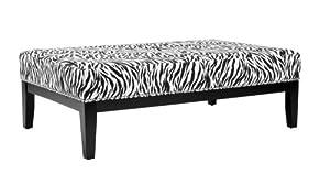 Safavieh Mercer Collection Safari Black and White Zebra Print Cocktail Ottoman