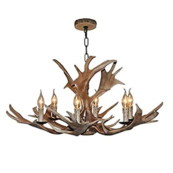 EFFORTINC Vintage Style Resin Deer Horn Antler Chandelier,6Lights(Bulbs Not Included)