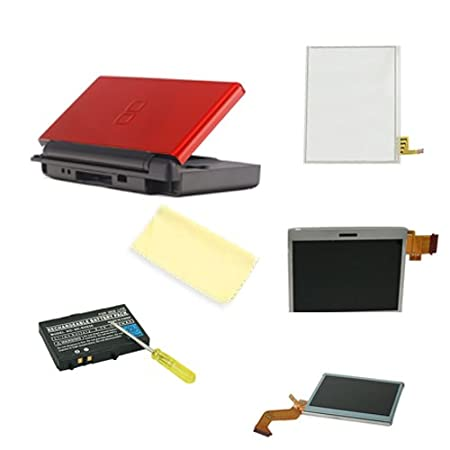 HDE (TM) Red Case Repair Kit compatible with Nintendo DS Lite + Micro-fiber Cloth