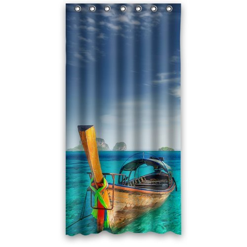 Custom Unique Design Boat On The Sea Waterproof Fabric Shower Curtain, 72 By 36-Inch front-443007