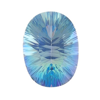 6.50 Cts of AAA 14x10 mm Oval Concave Loose Cassiopeia Mystic Topaz ( 1 pcs ) Gemstone