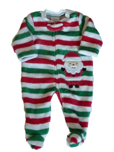 Little Wonders Infant Boys & Girls Plush Striped Christmas Outfit Santa Sleeper
