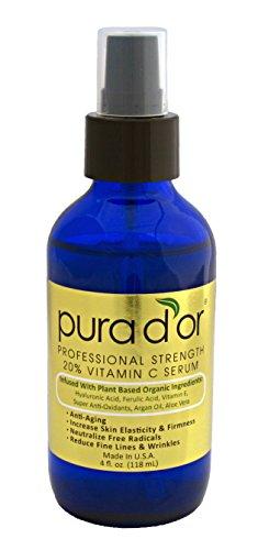 Pura D'Or 20% Vitamin C Serum With Hyaluronic Acid, Ferulic Acid, Vitamin E, Super Anti-Oxidants, Argan Oil & Aloe Vera - Professional Strength (4 Fl. Oz.)
