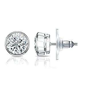 IGI Certified 14k White Gold Bezel-set Round Diamond Stud Earrings (1.40 ct, G-H, VS2-SI1)