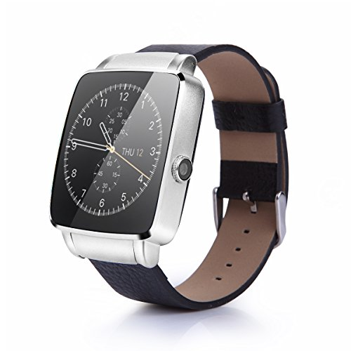 [Original] OUMAX?Bluetooth Smart Watch S6 Edge for Android Smart Phones (Full Function Support for Android 4.3 or Above) Silver/Curved Screen/Extra Replacement Premium Leather Strap