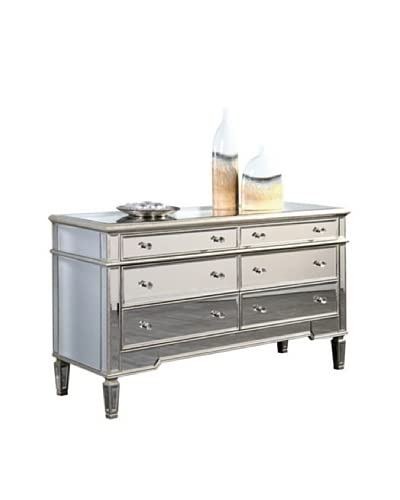 Florentine 6-Drawer Dresser, Silver Leaf/Clear Mirror