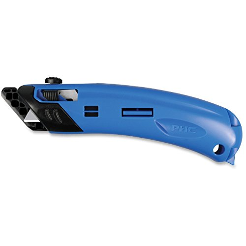Safety First System Ez4 Self-Retractable Guarded Safety Cutter - Plastic - Black, Blue