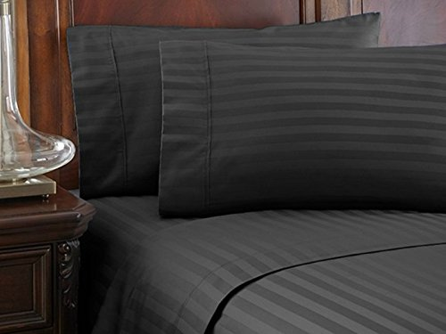 "Scala Home Fashion's New Collection 800 Thread Count 4 Peice 14"" Deep Pocket Attached Waterbed Sheet Set in Stripe Elephant Grey California King Size 100% Cotton"