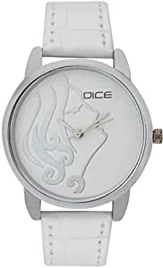 "DICE ""Grace 8825"" Fashionable, Elegant, Contemporary, Tasteful and attractive Watch for women. White Dial, Silver case and Anti allergic Leather Strap."