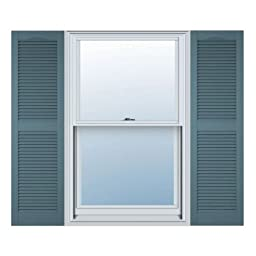 12 in. Vinyl Louvered Shutters in Wedgewood Blue - Set of 2 (12 in. W x 1 in. D x 67 in. H (6.5 lbs.))