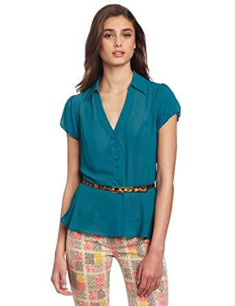 XOXO Juniors Peplum Blouse, Teal, Small