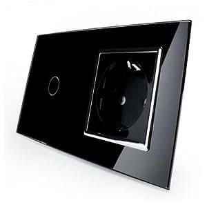 Glas Touch Lichtschalter Wandschalter Anzeigelicht 1-fach Schalter Weiß Eckig