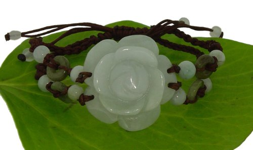 Double the Flower Layers, Double the Sizes, Double the Cord Strands, and Double the Beauty with This Jade Bracelet