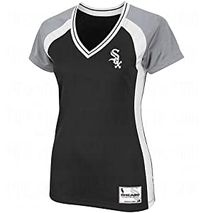MLB Majestic Chicago White Sox Ladies Opal Synthetic Premium T-Shirt - Black by Majestic
