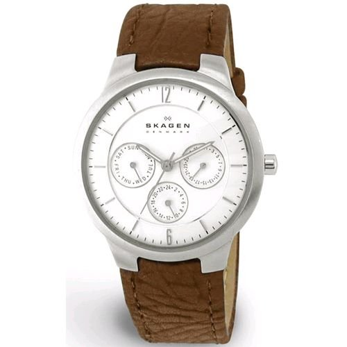 Skagen Men's 331LSL1 Chronograph White Dial Watch and Brown Leather Watch
