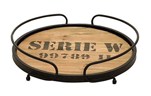 Deco 79 Unique Home Accents Metal Wood Tray, 14-Inch