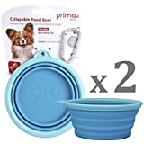Prima Pet Expandable / Collapsible Silicone Food & Water Travel Bowl with Clip for Small & Medium Dog and Cat, Portable and Durable Pop-up Feeder for Convenient On-the-go Feeding, Size: 1.5 Cups (5.1 Inch Diameter Bowl) (2 PACK - AQUA)