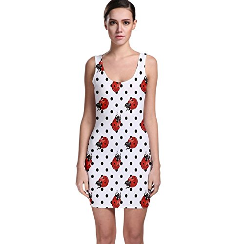 CowCow Red Ladybugs Black Polka Dots Pattern Bodycon Dress
